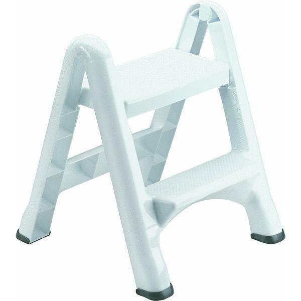 Rubbermaid Lightweight White Folding 2 Step Step Stool