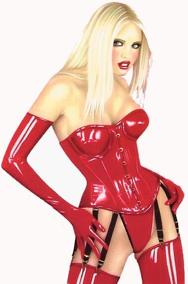 Sexy Blonde Red Patent Leather Latex Corset Bdsm Pin-Up -7812