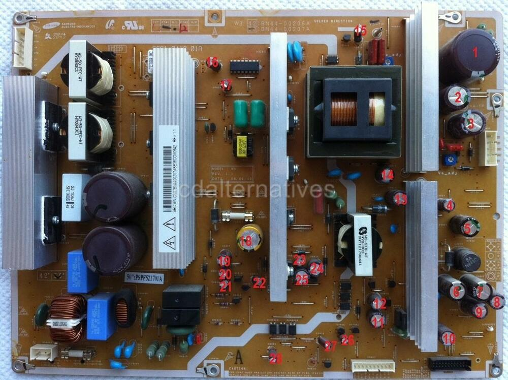 repair kit samsung plasma pn50a450p1d tv capacitors only not the entire board ebay. Black Bedroom Furniture Sets. Home Design Ideas