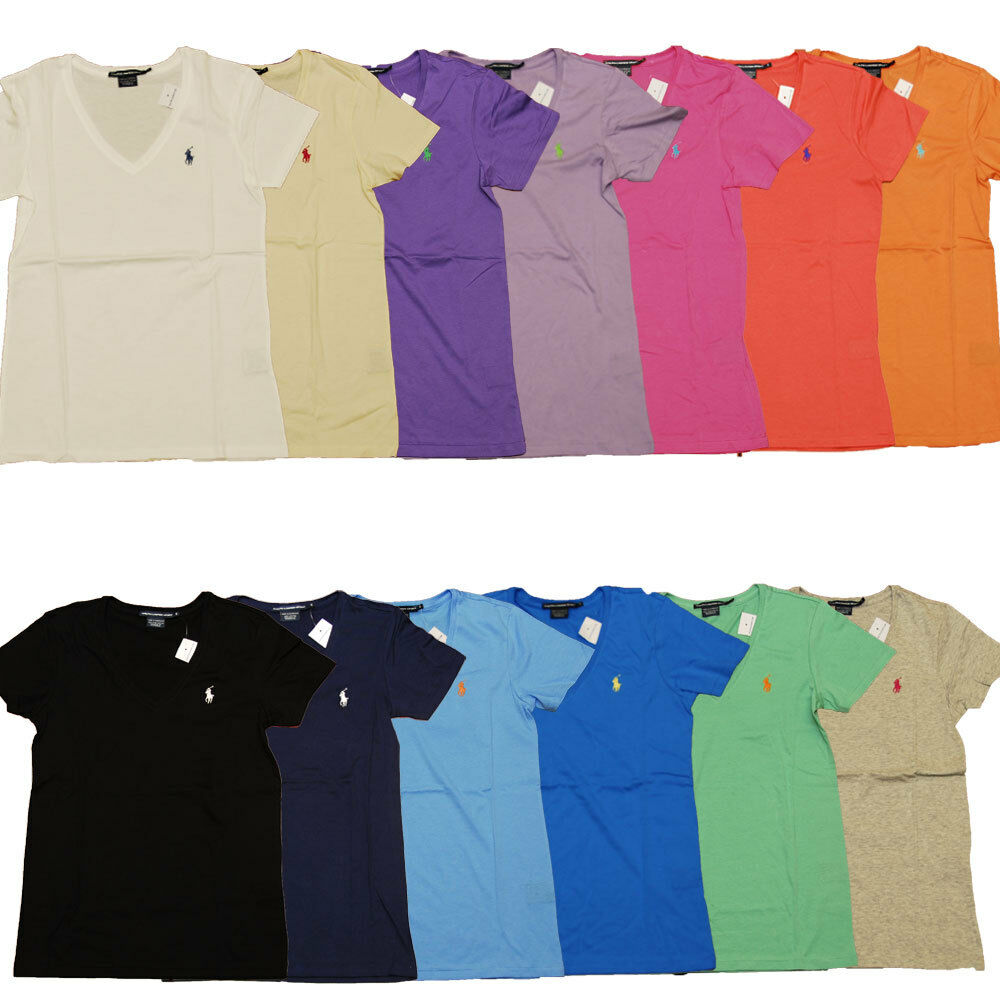 polo ralph lauren womens t shirt solid v neck pony logo