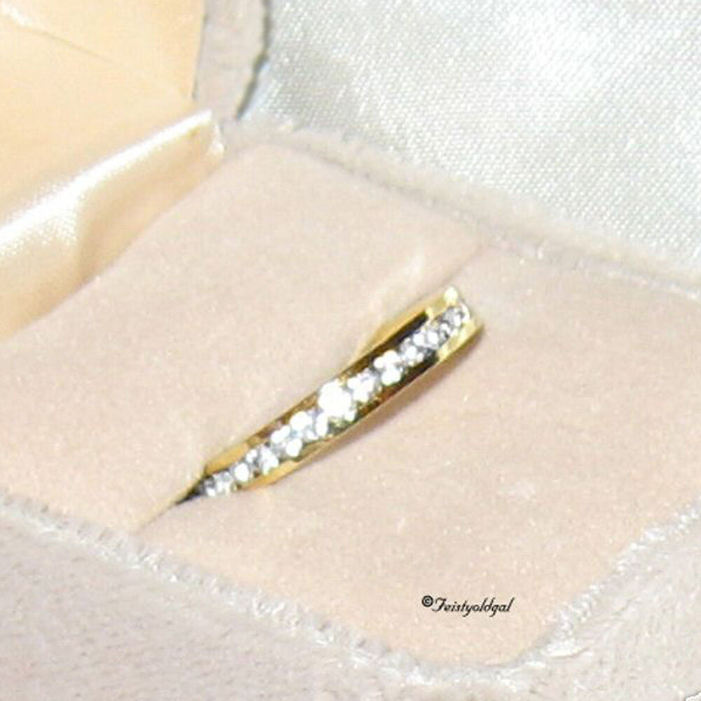 14k yellow gold gp eternity anniversary band ring in. Black Bedroom Furniture Sets. Home Design Ideas