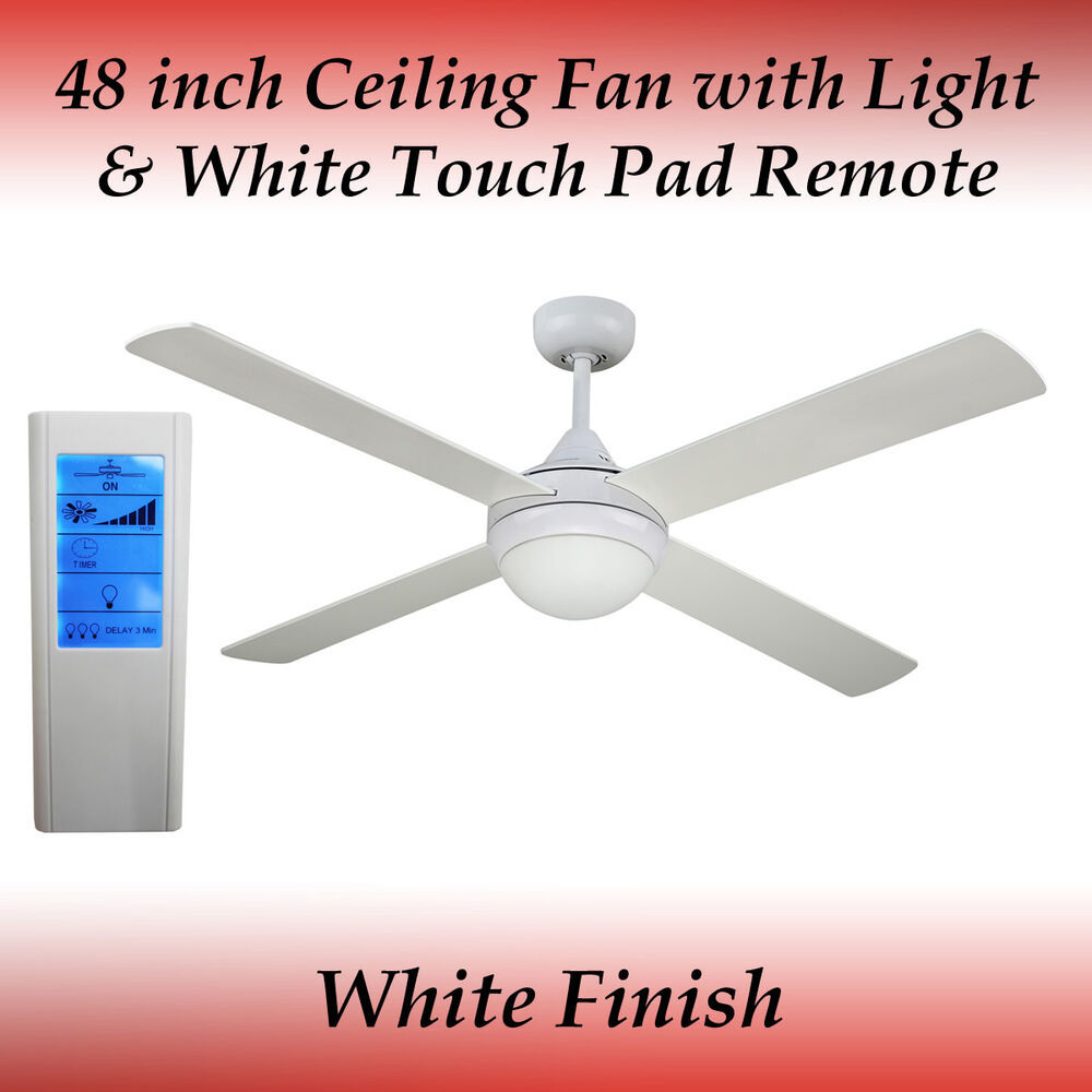 Revolve 48 Inch Ceiling Fan White With Light With White