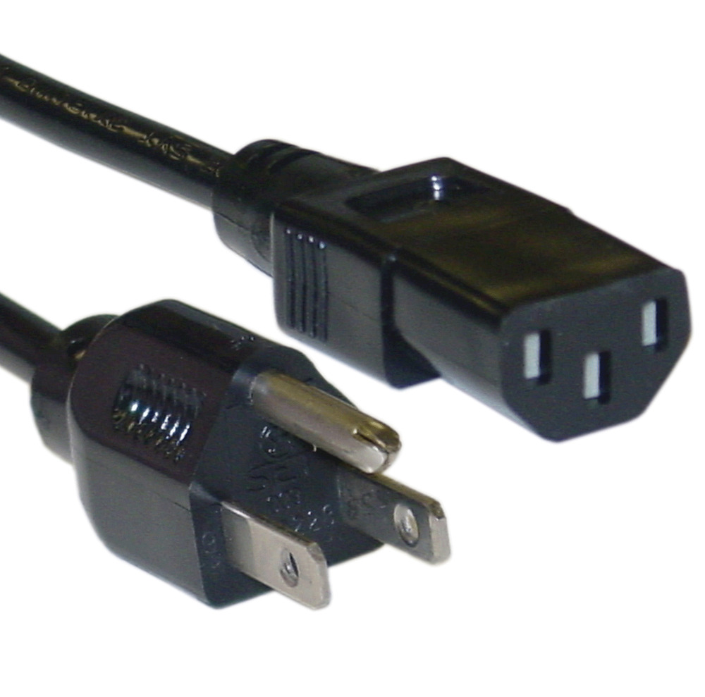 3 Prong Power Cord : Ft prong iec c to nema p standard universal ac