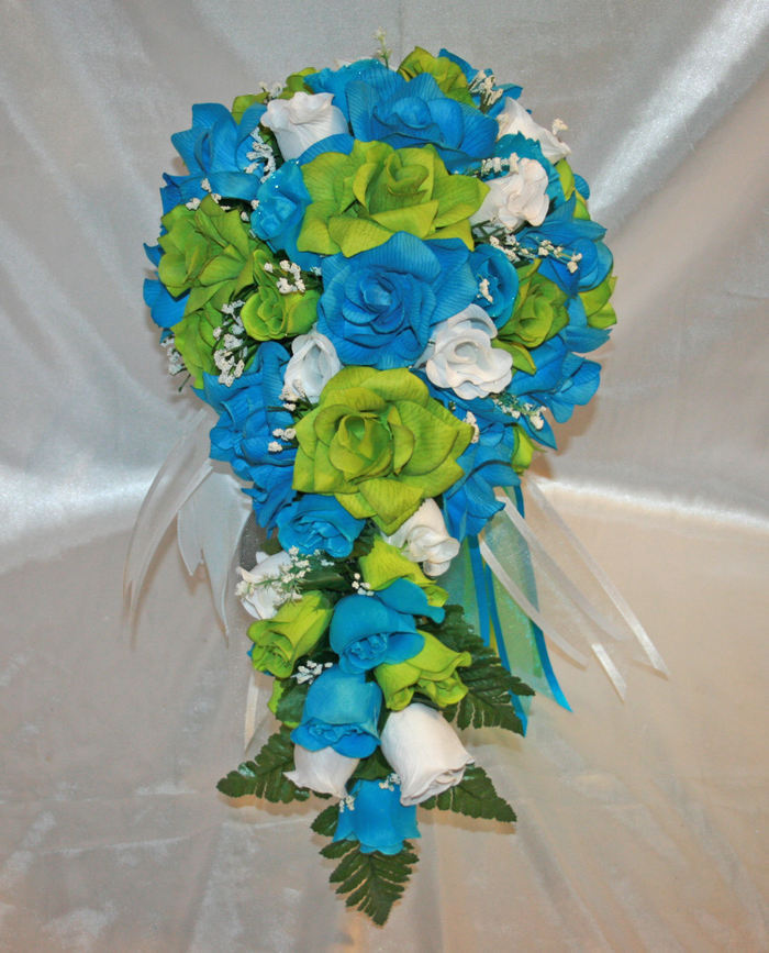 Turquoise Flowers For Wedding: Lime Green Turquoise Bridal Bouquet Silk Wedding Flowers