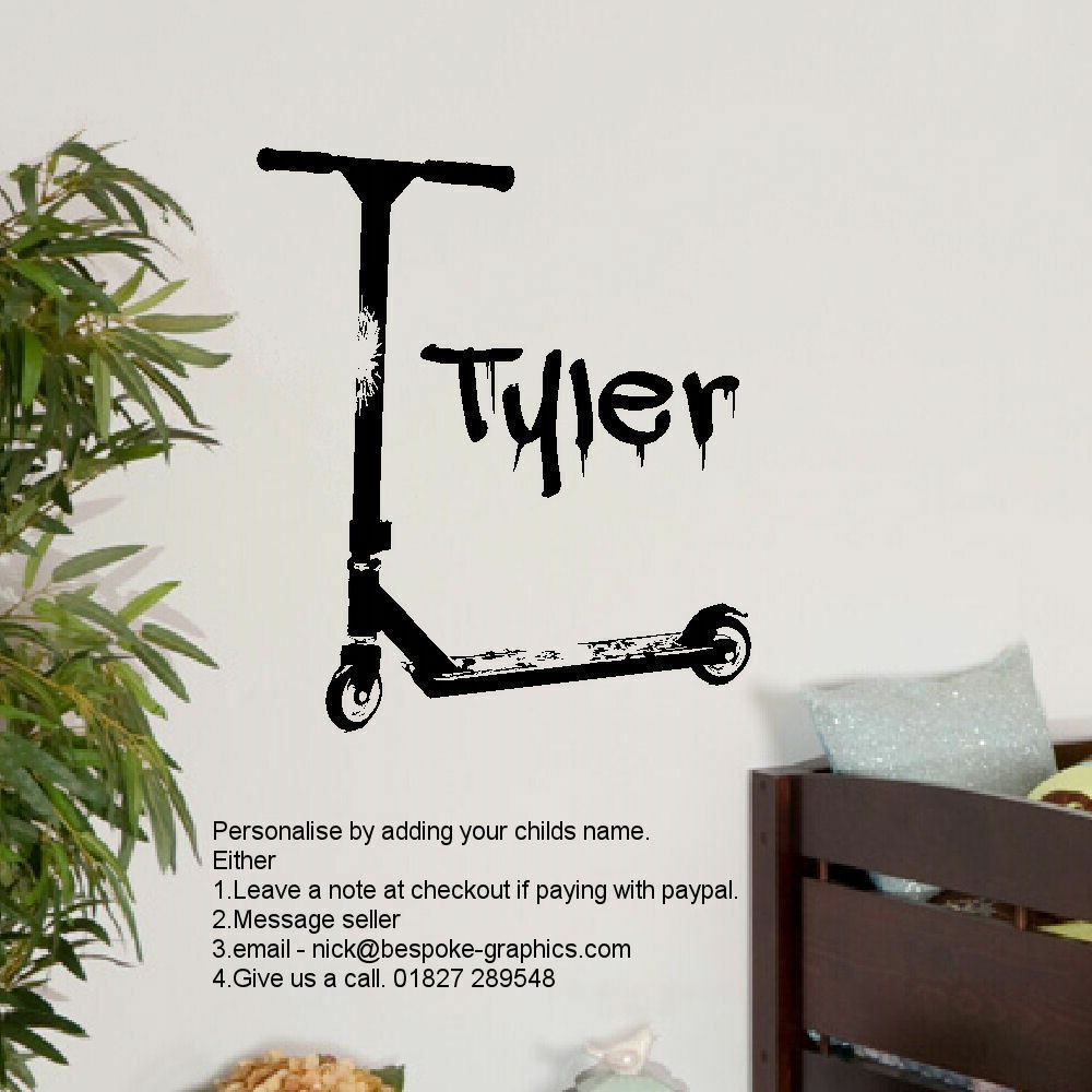Large Personalised Stunt Scooter Wall Art Sticker Transfer