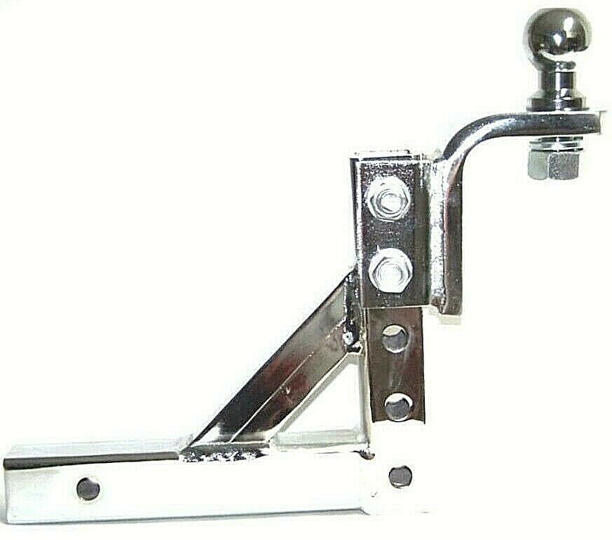 """Chrome 10"""" Adjustable Trailer Drop Hitch Mount for 2"""" Receiver & 2"""" hitch ball 