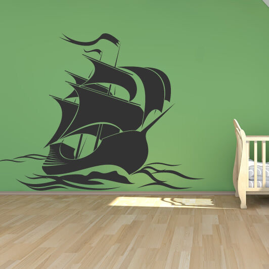Pirates Kids Wall Decal: Pirate Ship Wall Sticker Wall Art Decal Transfers