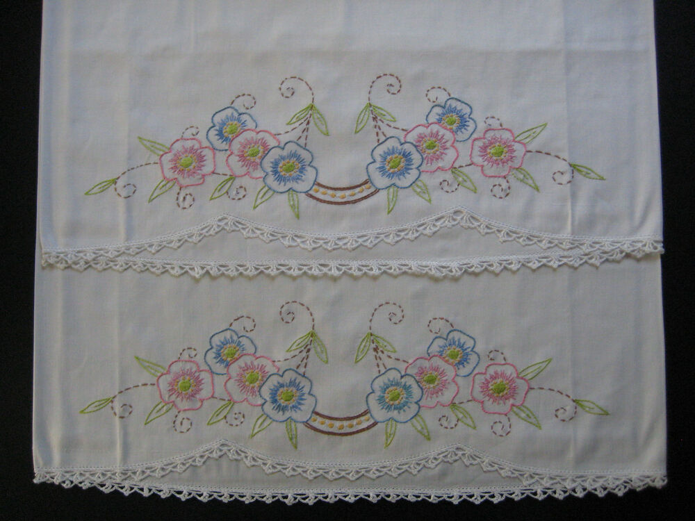 Vintage Pillowcase Set Hand Embroidery Pillow Case