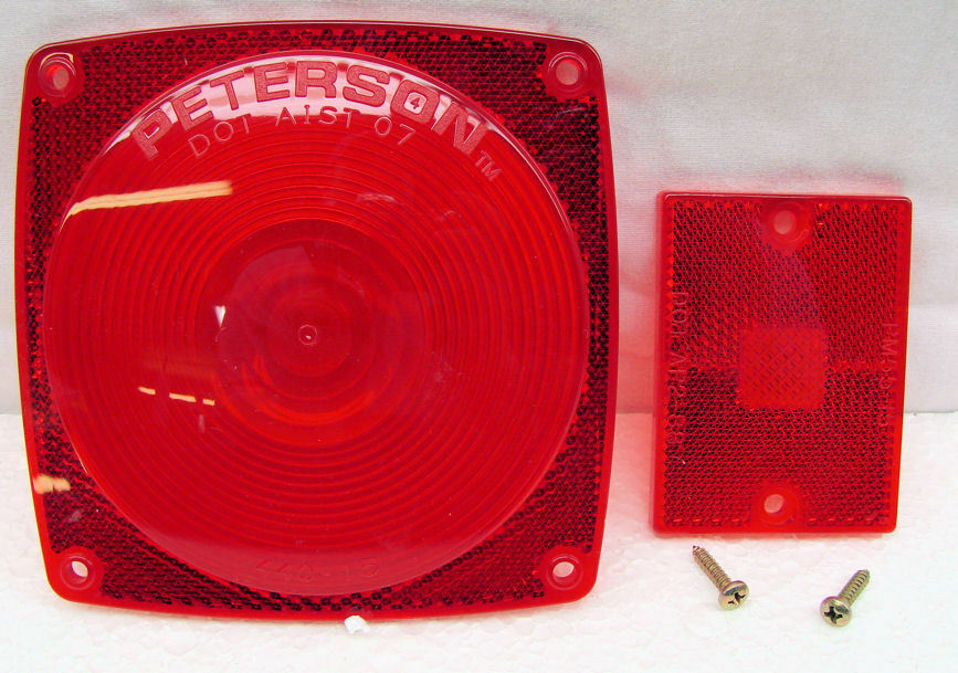 Trailer Tail Light Lens : Peterson quot red lens trailer tail light stop turn
