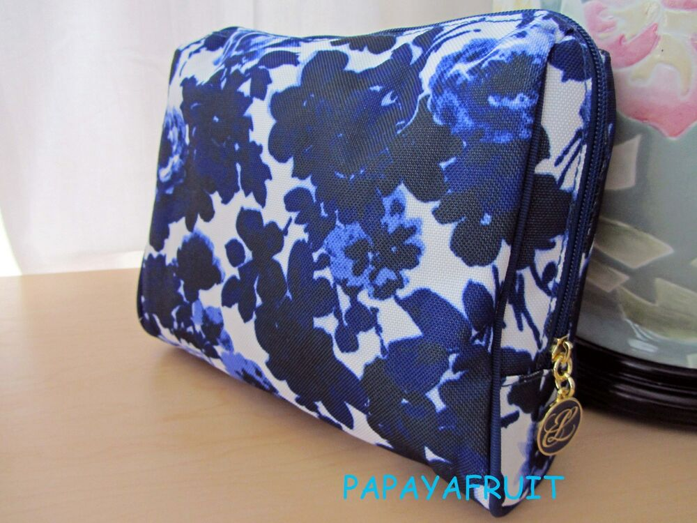 Estee Lauder Floral White Blue Fabric Cosmetic Case Bag | EBay