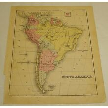 1880 Warren Antique Color Map of SOUTH AMERICA