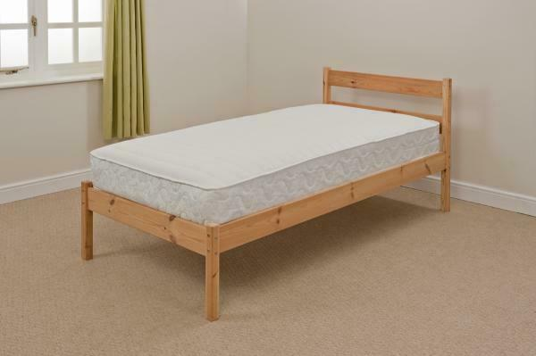3ft single pine value bed in white or natural pine abi for Single divan bed without mattress