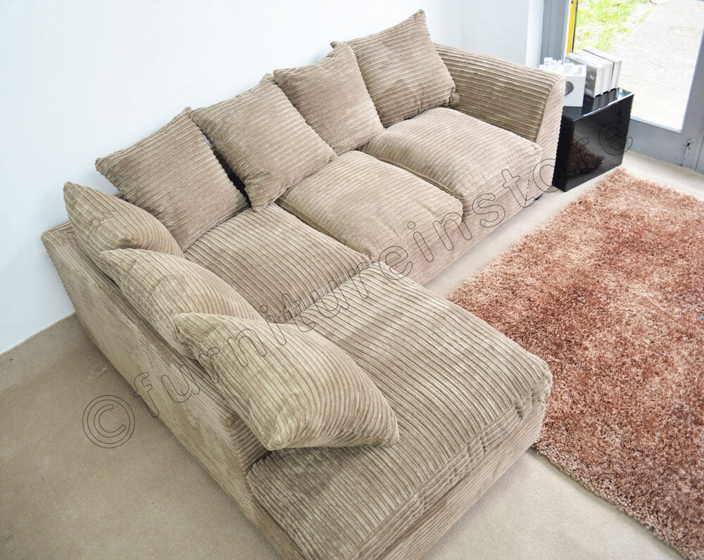 caramel dylan jumbo cord fabric sofas settee left right fabric corner sofas ebay. Black Bedroom Furniture Sets. Home Design Ideas