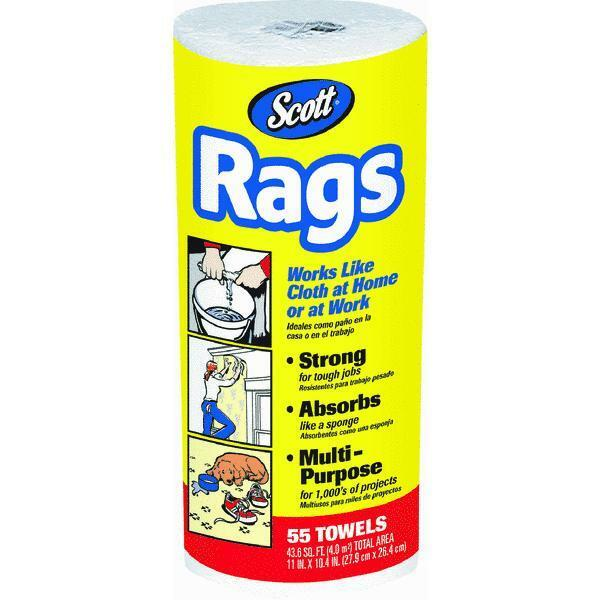 Scott Lint Free Paper Towels: Scott Rags On A Roll, White 55 White Rags Kimberly-Clark