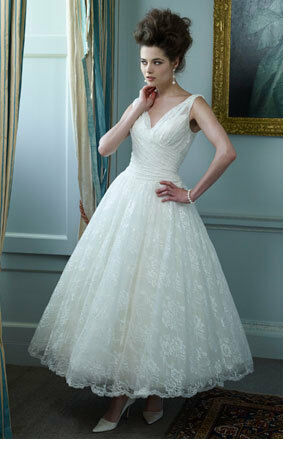 Tea Length White Bridal Wedding Dress Ball Gown Lace Party