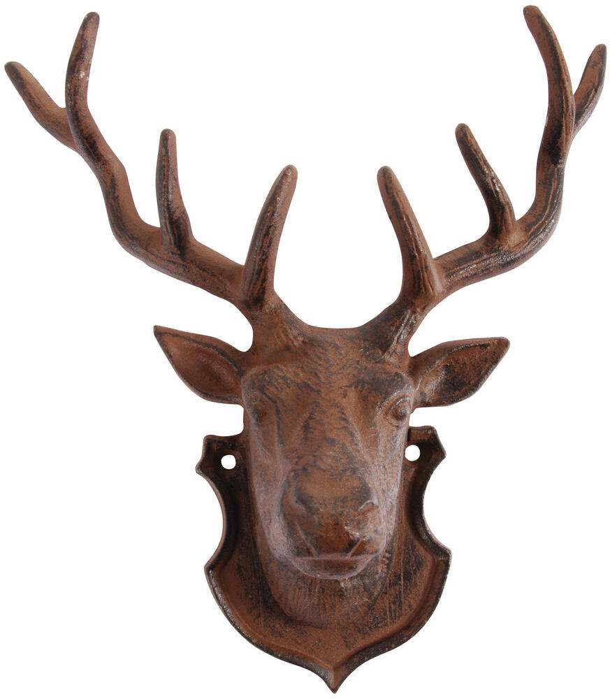 cast iron stag deer head wall mounted metal plaque antlers reindeer new ebay. Black Bedroom Furniture Sets. Home Design Ideas