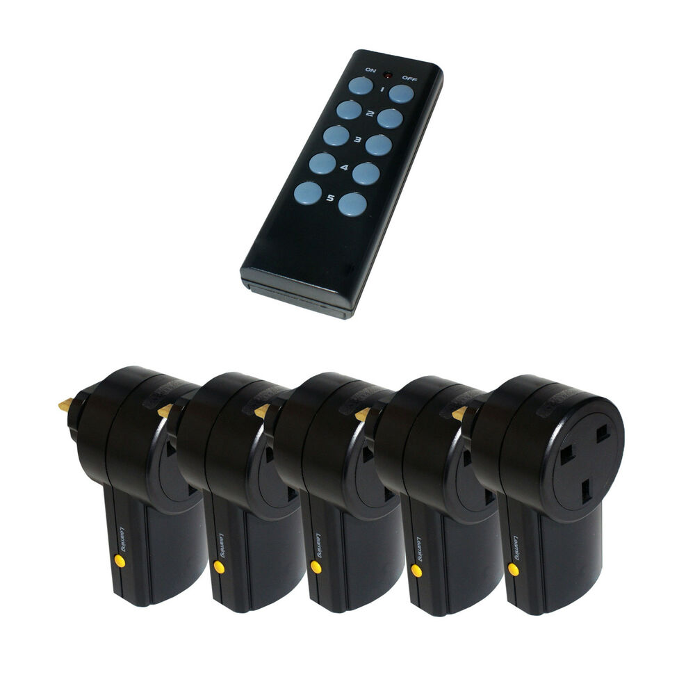 5 x remote control uk 240v wireless mains sockets switch. Black Bedroom Furniture Sets. Home Design Ideas