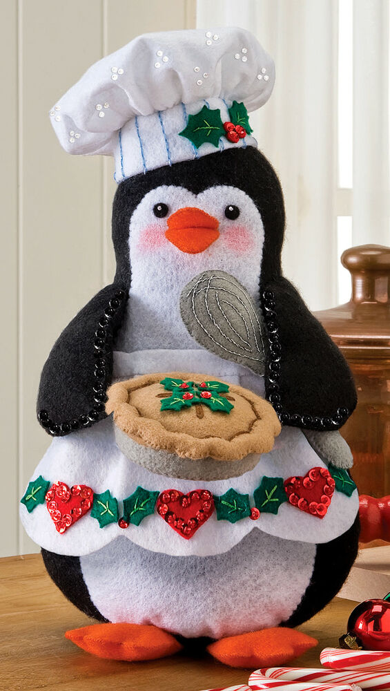 Bucilla Chef Penguin 3d Felt Christmas Home Decor Kit 86334 2012 Release Ebay