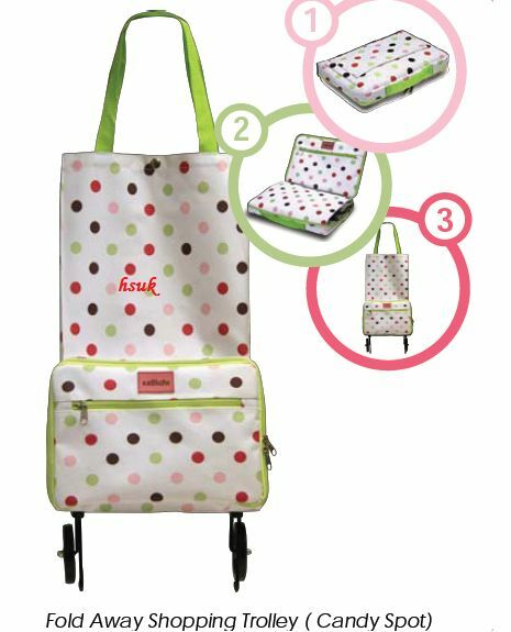 CANDY SPOT FOLDING FOLDABLE SHOPPING TROLLEY BAG WITH