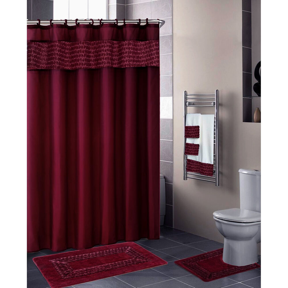 Burgundy 18 Pc Bathroom Set 2 Rugs Mats 1 Fabric Shower