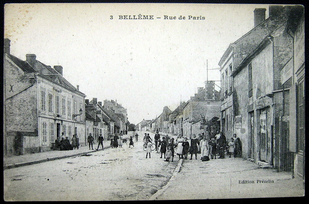 Belleme France  city photo : France 1900's Belleme Rue de Paris Children with Bicycle More | eBay