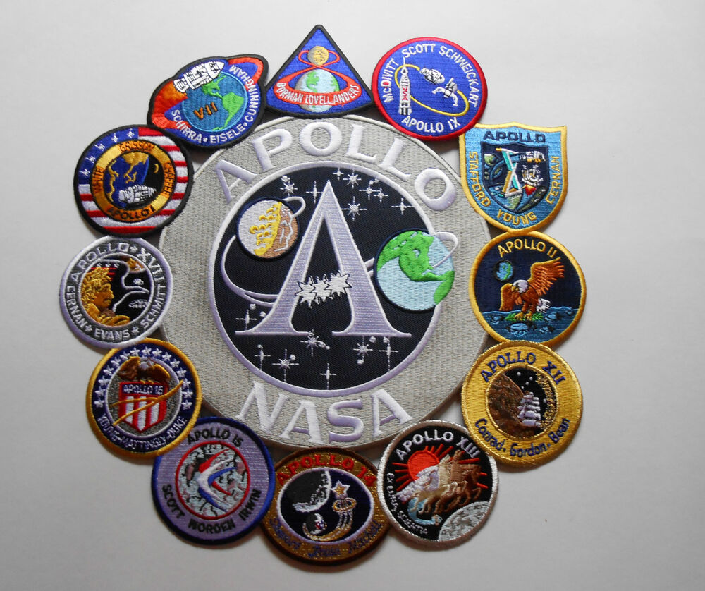 Apollo Mission Patch Collage 1,7,8,9,10,11,12,13,14,15,16 ...