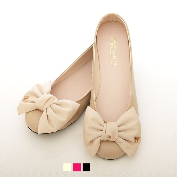 wedding bowed comfy darling ballerinas flats shoes pink beige black