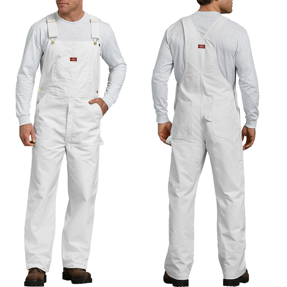 6769ad411e3 Details about Dickies Bib Overalls Mens Painters bib Overalls 8953 White  Cotton Size 30-50