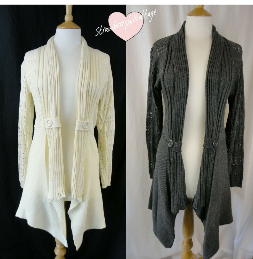 Knitting Pattern For Waterfall Jacket : Crochet / Knitted waterfall cardigan/ jacket - cream or grey by Jennifer Tayl...