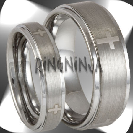His And Her Christian Cross Tungsten Ring Set Mens Womens Matching Wedding Bands