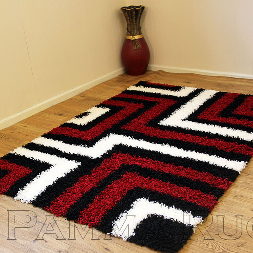 Small extra large modern thick 5cm pile black red ivory for Cream and red rugs