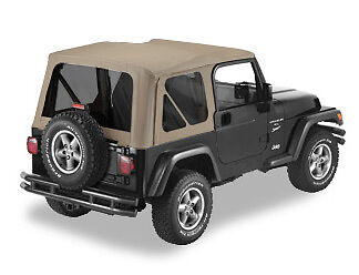 Jeep Wrangler Replacement Soft Top >> Jeep Wrangler TJ Dark Tan Replacement Soft Top w/ Tinted Windows | eBay