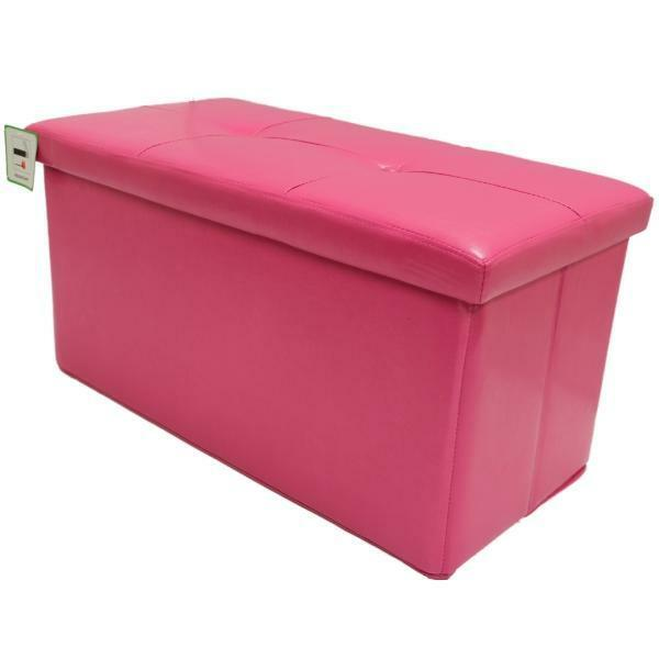 FOLDING PINK OTTOMAN STORAGE TOY CHEST BEDDING BOX FAUX
