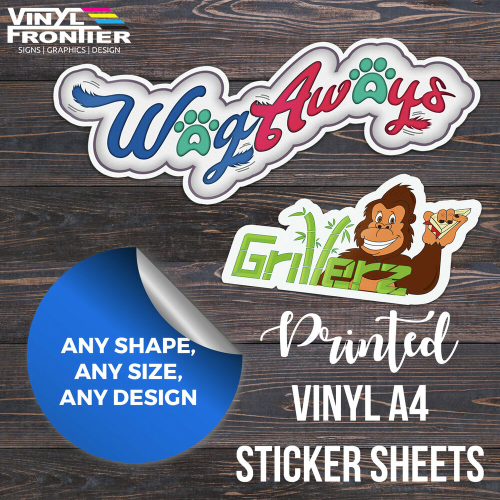 Custom Printed Full Colour Vinyl Stickers Labels Supplied On - Custom printed vinyl stickers