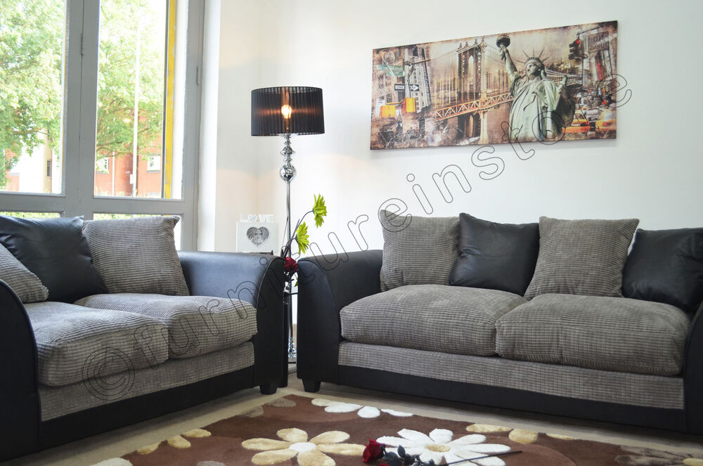 BLACK U0026 GREY FABRIC 2 + 2 Seater Sofa, JUMBO CORD Sofa Suite, Dylan Sofa |  EBay