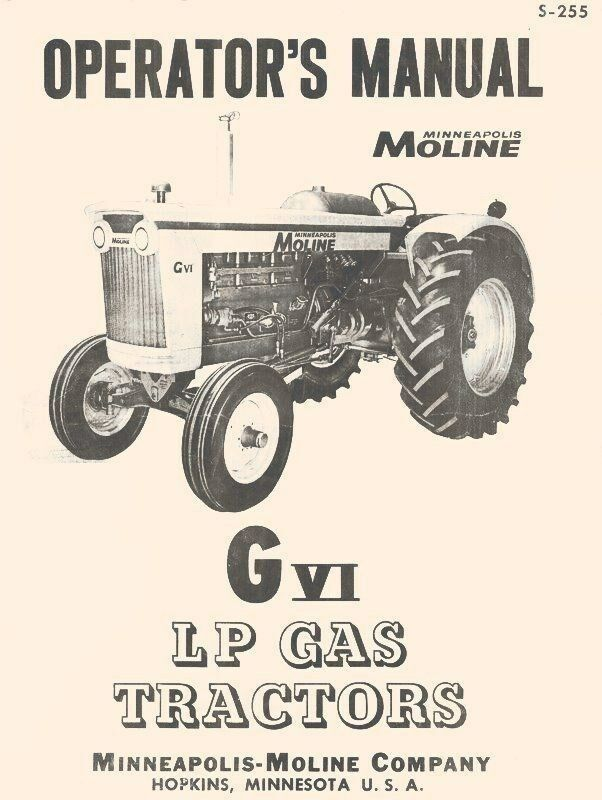 Minneapolis Moline Lawn Tractor Parts : Minneapolis moline g vi lp gas tractor operators