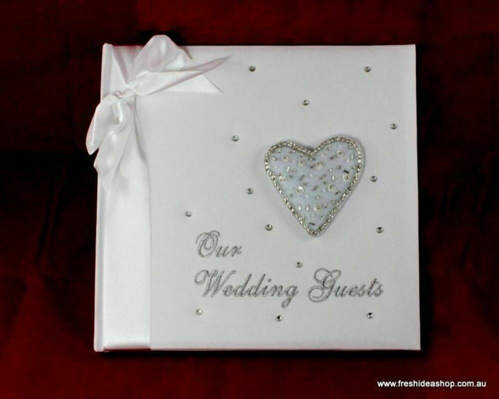 Fabric Cover Guest Book : Wedding guest book with cloth cover and embroidery heart