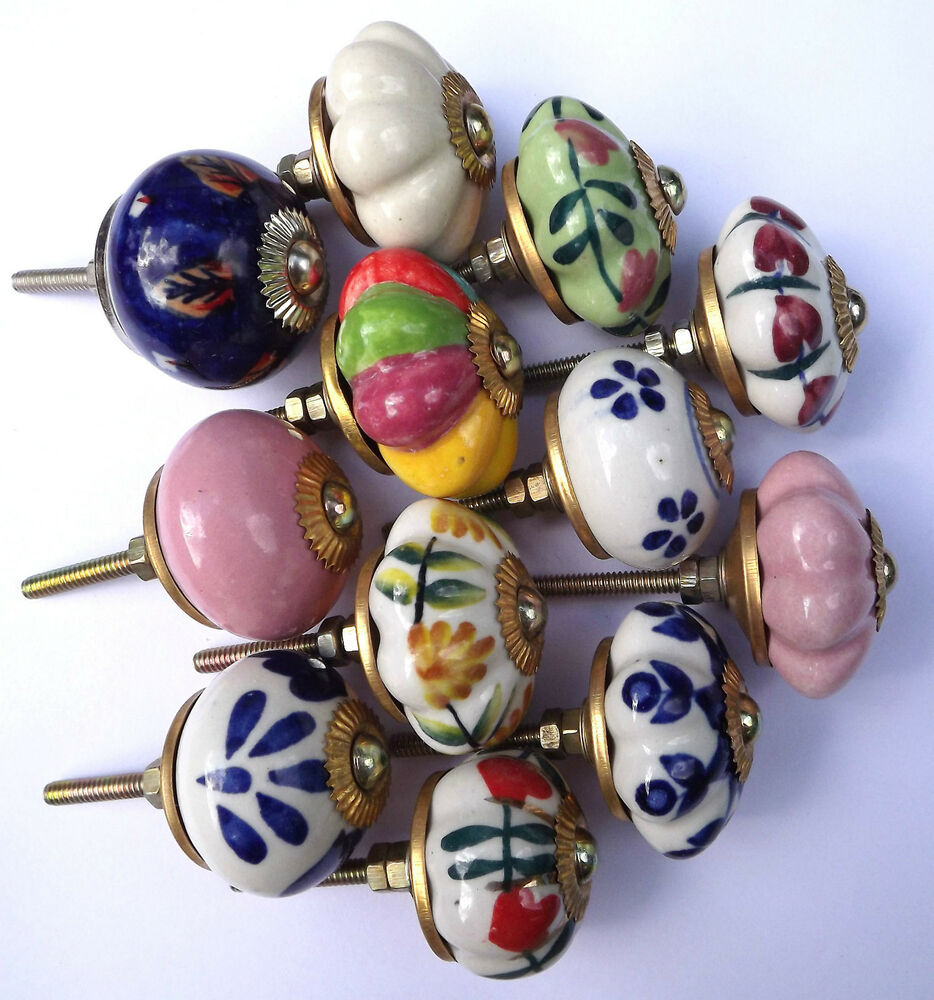 Porcelain Ceramic Knobs Pulls Kitchen Cupboard And