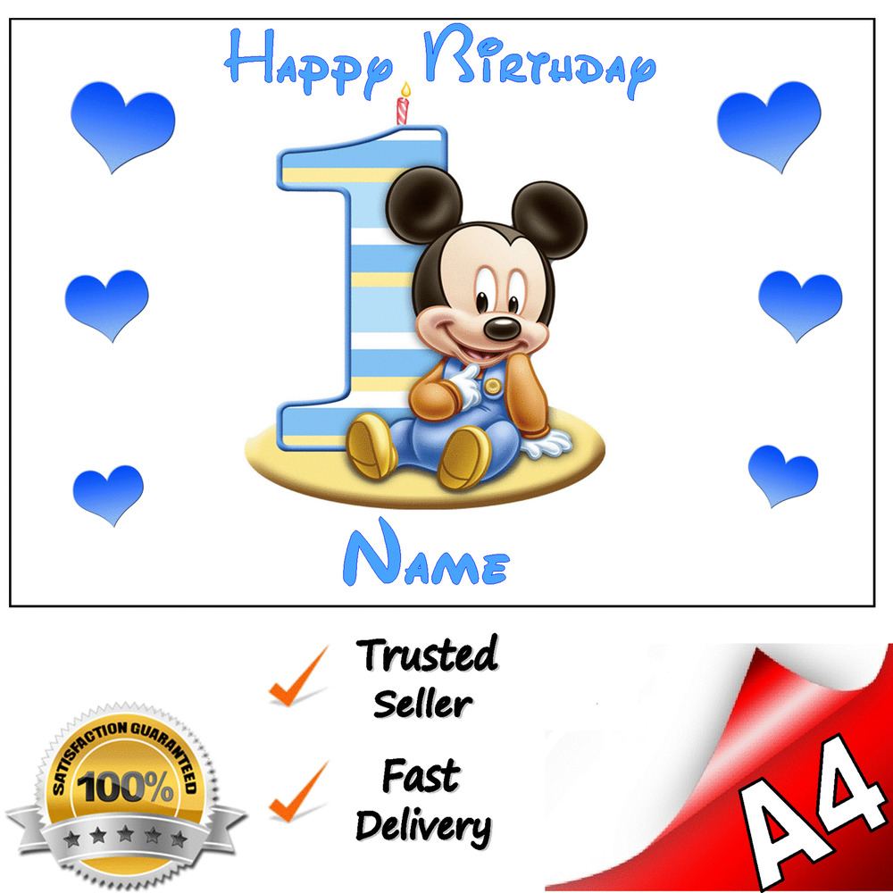 MICKEY MOUSE 1st FIRST BIRTHDAY Personalised A4 Edible ...