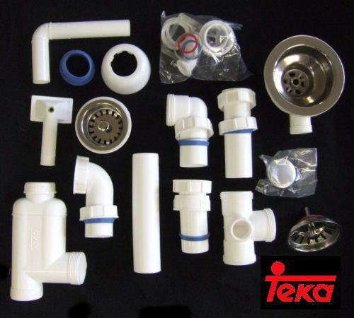 Kitchen Sink Waste Kit: TEKA HAN4155 STAINLESS STEEL 1 AND A HALF BOWL KITCHEN