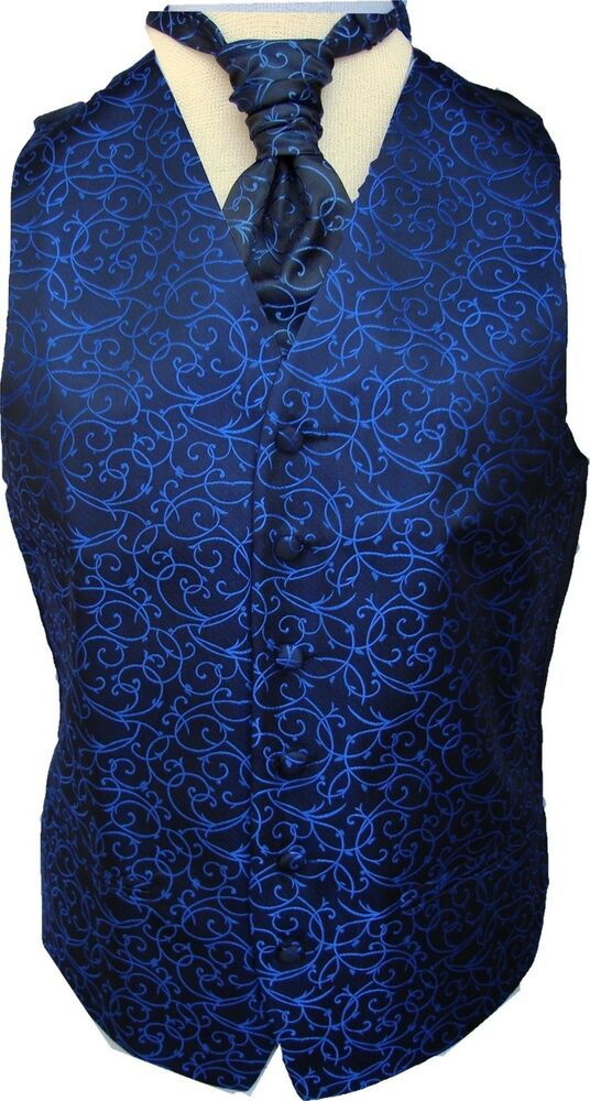 Mens Black Royal Blue Swirl Wedding Waistcoat W Wo Cravat