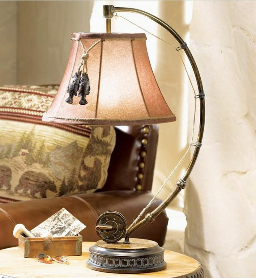 Catch Of The Day Table Lamp Fly Rod Reel Fish Rustic
