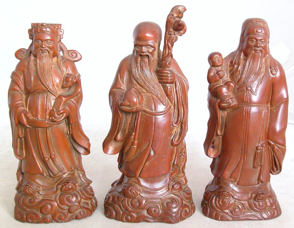 Chinese carved boxwood statues of immortals or star gods