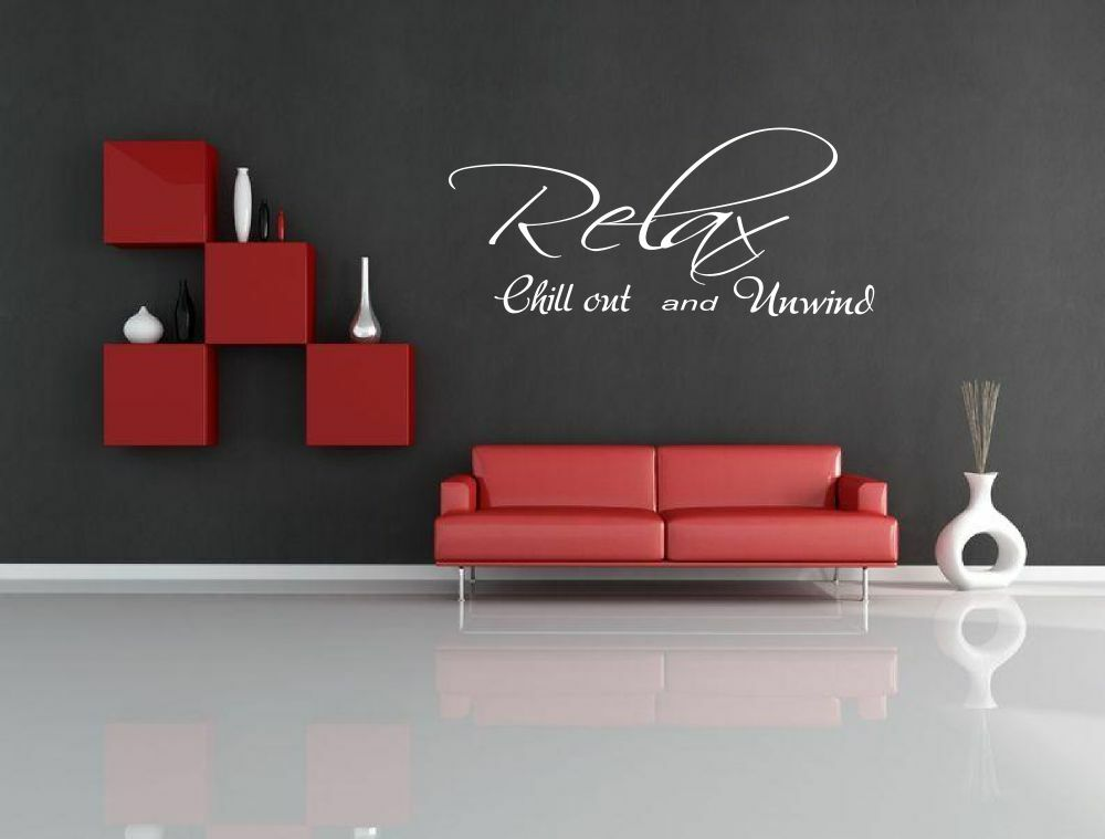 Large relax chill out bedroom wall sticker decal quote for Top 20 wall decal quotes for bedroom