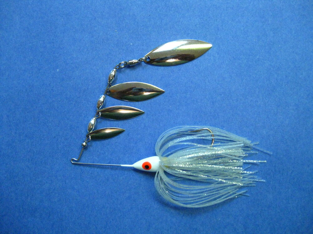 3 8 oz quad r spinnerbait silver bass musky pike jig for Fishing lure making