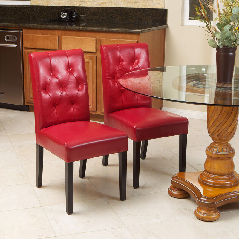 Set of 2 classy red leather dining room chairs with tufted for Tufted leather dining room chairs
