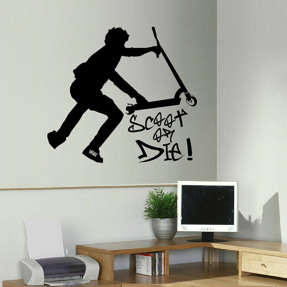 Large stunt trick scooter children bedroom wall mural - Childrens bedroom stickers for walls ...