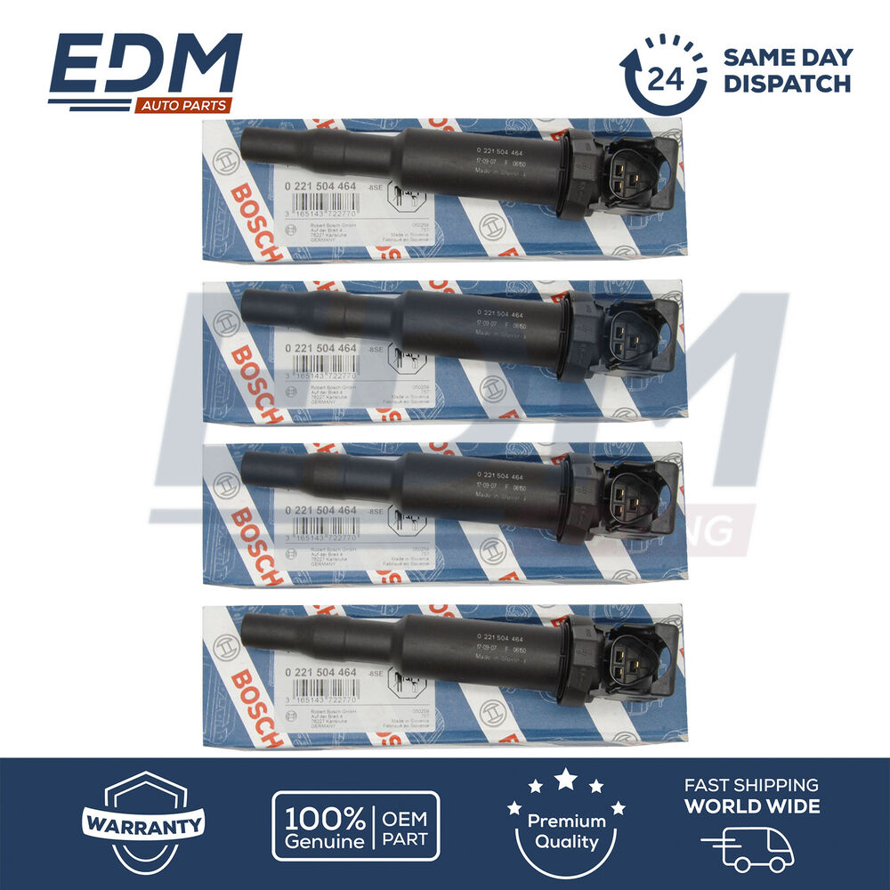 Bmw E39 E46 E60 E81 E87 E90 Ignition Coils Pencil Type Bosch 0221504464 Set Of 4 Ebay