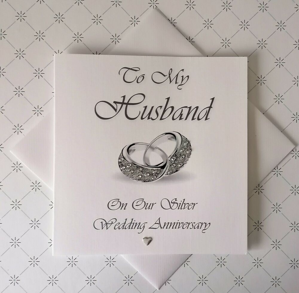SILVER WEDDING ANNIVERSARY PERSONALISED CARD HUSBAND or WIFE eBay