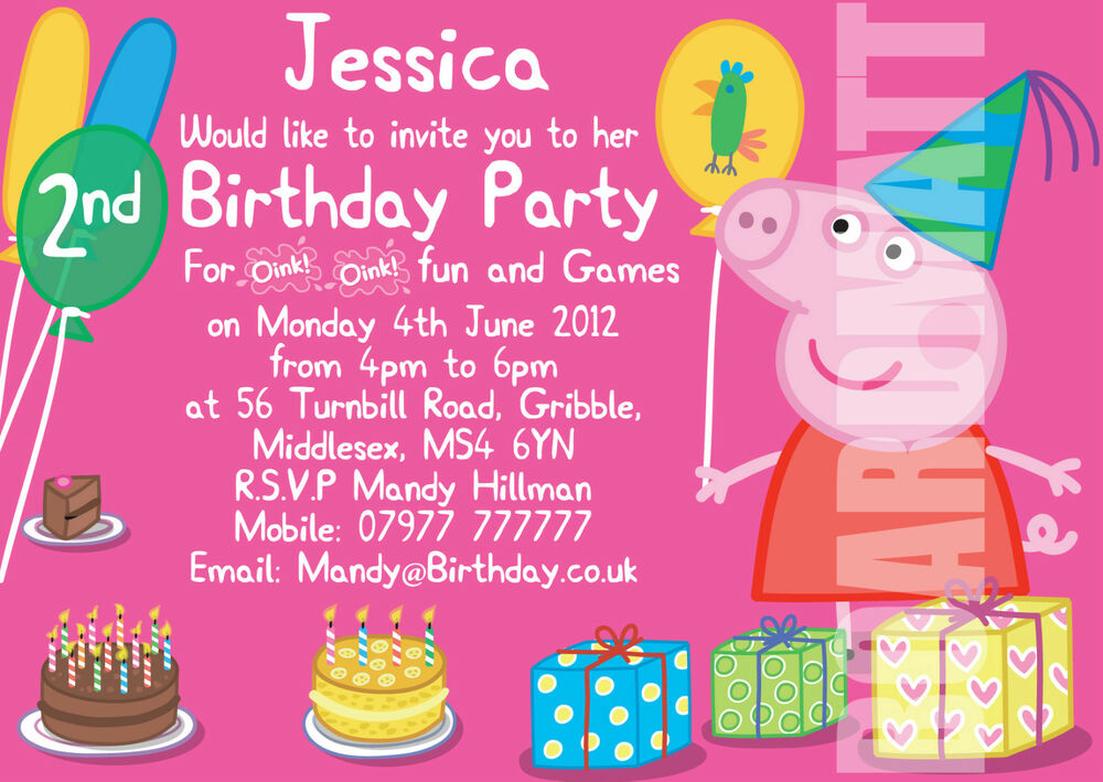Peppa Pig Personalised Party Invitations x 10 Birthday Invites – Cheap Personalised Party Invitations